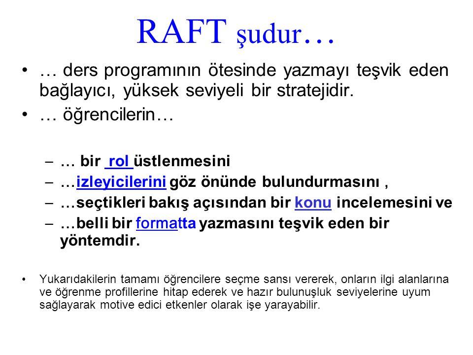 RAFT şudur … … ders programının ötesinde yazmayı teşvik eden bağlayıcı, yüksek seviyeli bir stratejidir.