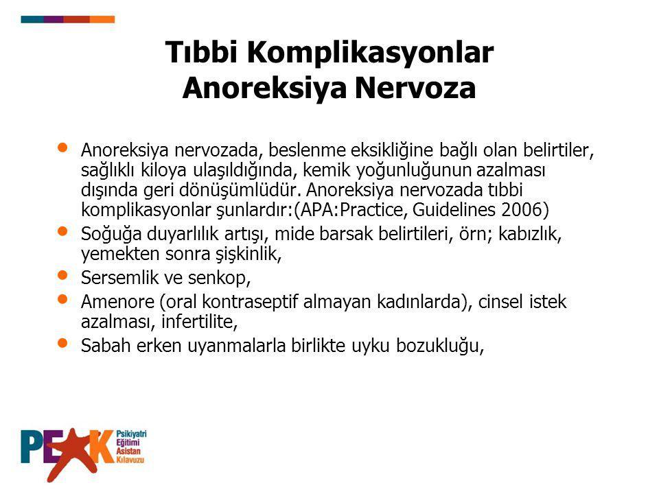 Tıbbi Komplikasyonlar Anoreksiya Nervoza Anoreksiya nervozada, beslenme eksikliğine bağlı olan belirtiler, sağlıklı kiloya ulaşıldığında, kemik yoğunl