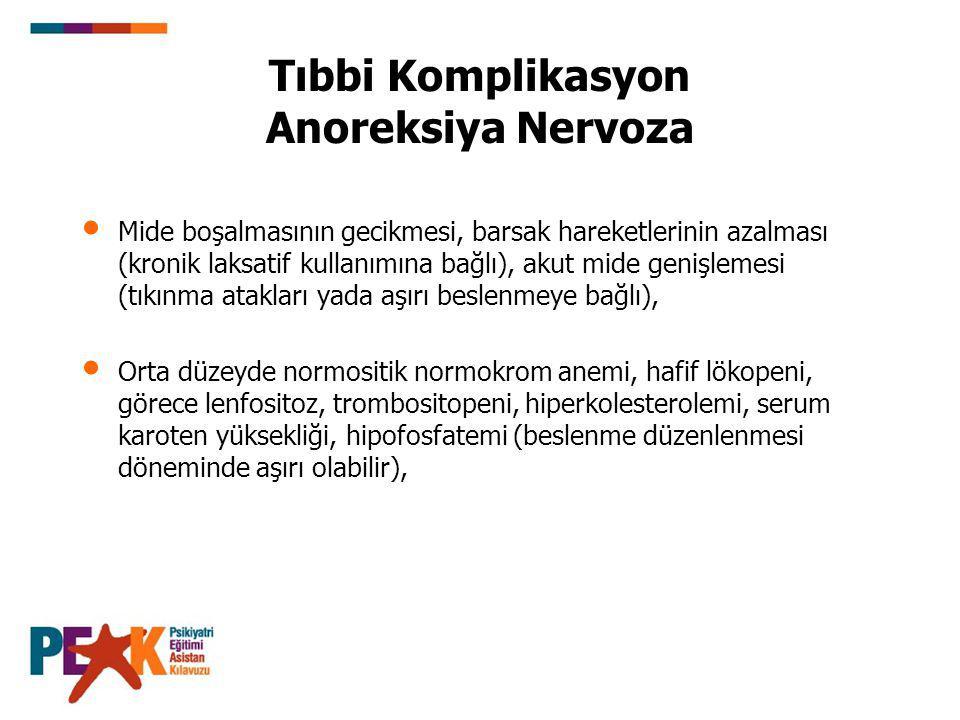 Tıbbi Komplikasyon Anoreksiya Nervoza Mide boşalmasının gecikmesi, barsak hareketlerinin azalması (kronik laksatif kullanımına bağlı), akut mide geniş
