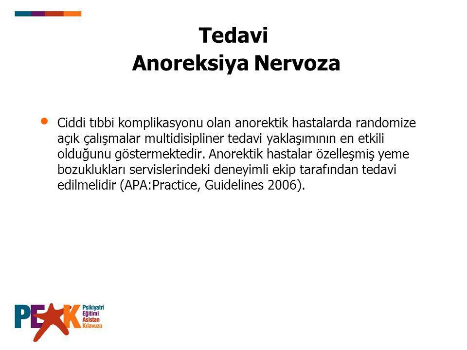Tedavi Anoreksiya Nervoza Ciddi tıbbi komplikasyonu olan anorektik hastalarda randomize açık çalışmalar multidisipliner tedavi yaklaşımının en etkili