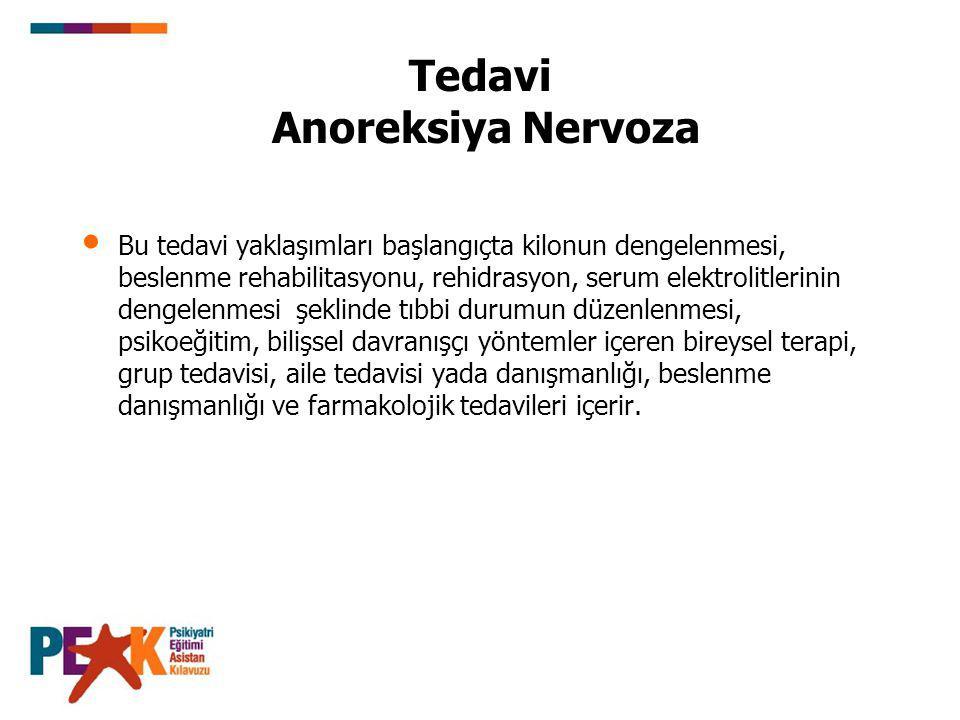 Tedavi Anoreksiya Nervoza Bu tedavi yaklaşımları başlangıçta kilonun dengelenmesi, beslenme rehabilitasyonu, rehidrasyon, serum elektrolitlerinin deng