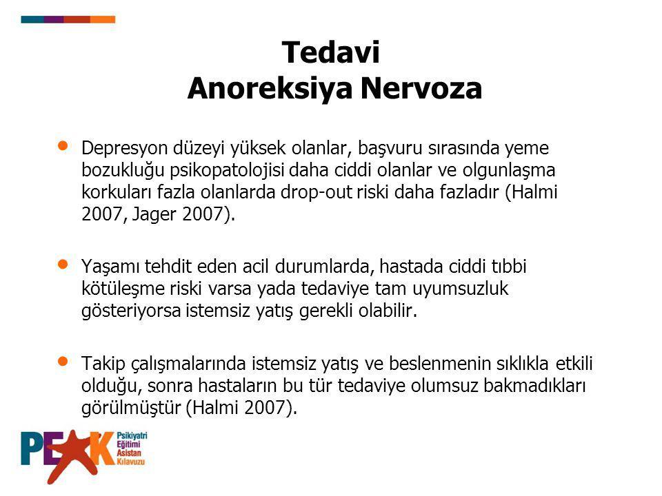 Tedavi Anoreksiya Nervoza Depresyon düzeyi yüksek olanlar, başvuru sırasında yeme bozukluğu psikopatolojisi daha ciddi olanlar ve olgunlaşma korkuları