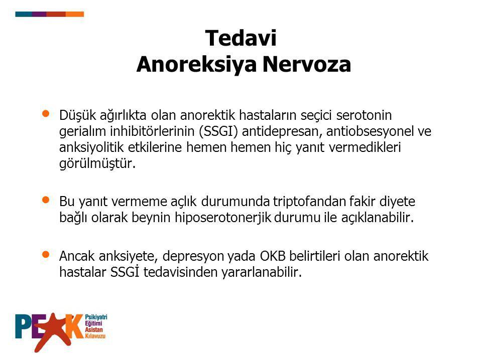 Tedavi Anoreksiya Nervoza Düşük ağırlıkta olan anorektik hastaların seçici serotonin gerialım inhibitörlerinin (SSGI) antidepresan, antiobsesyonel ve