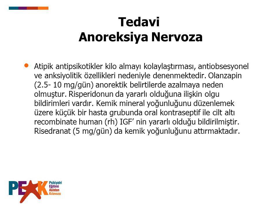 Tedavi Anoreksiya Nervoza Atipik antipsikotikler kilo almayı kolaylaştırması, antiobsesyonel ve anksiyolitik özellikleri nedeniyle denenmektedir. Olan