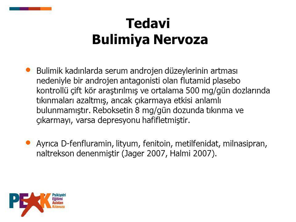 Tedavi Bulimiya Nervoza Bulimik kadınlarda serum androjen düzeylerinin artması nedeniyle bir androjen antagonisti olan flutamid plasebo kontrollü çift