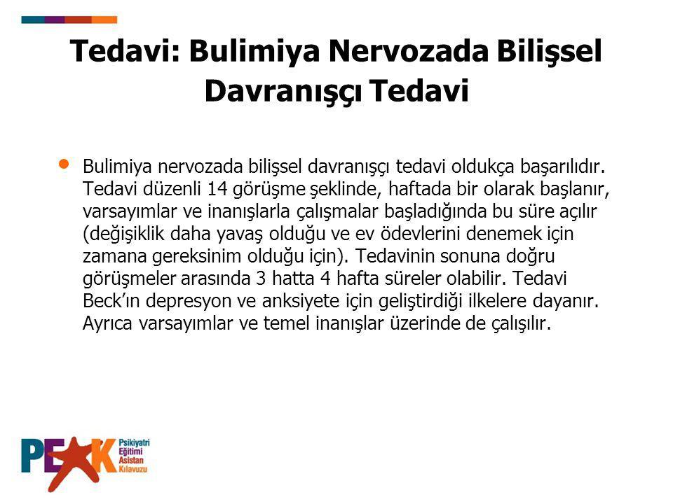 Tedavi: Bulimiya Nervozada Bilişsel Davranışçı Tedavi Bulimiya nervozada bilişsel davranışçı tedavi oldukça başarılıdır. Tedavi düzenli 14 görüşme şek