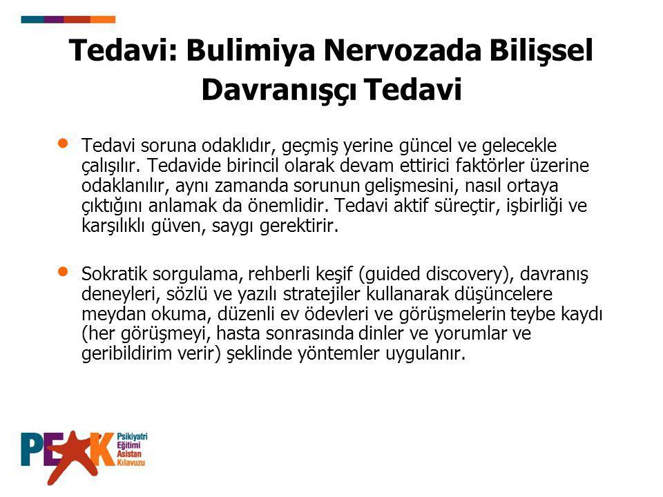 Tedavi: Bulimiya Nervozada Bilişsel Davranışçı Tedavi Tedavi soruna odaklıdır, geçmiş yerine güncel ve gelecekle çalışılır. Tedavide birincil olarak d