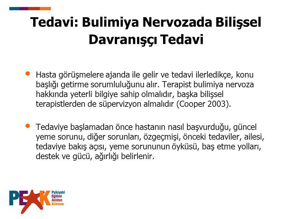 Tedavi: Bulimiya Nervozada Bilişsel Davranışçı Tedavi Hasta görüşmelere ajanda ile gelir ve tedavi ilerledikçe, konu başlığı getirme sorumluluğunu alı