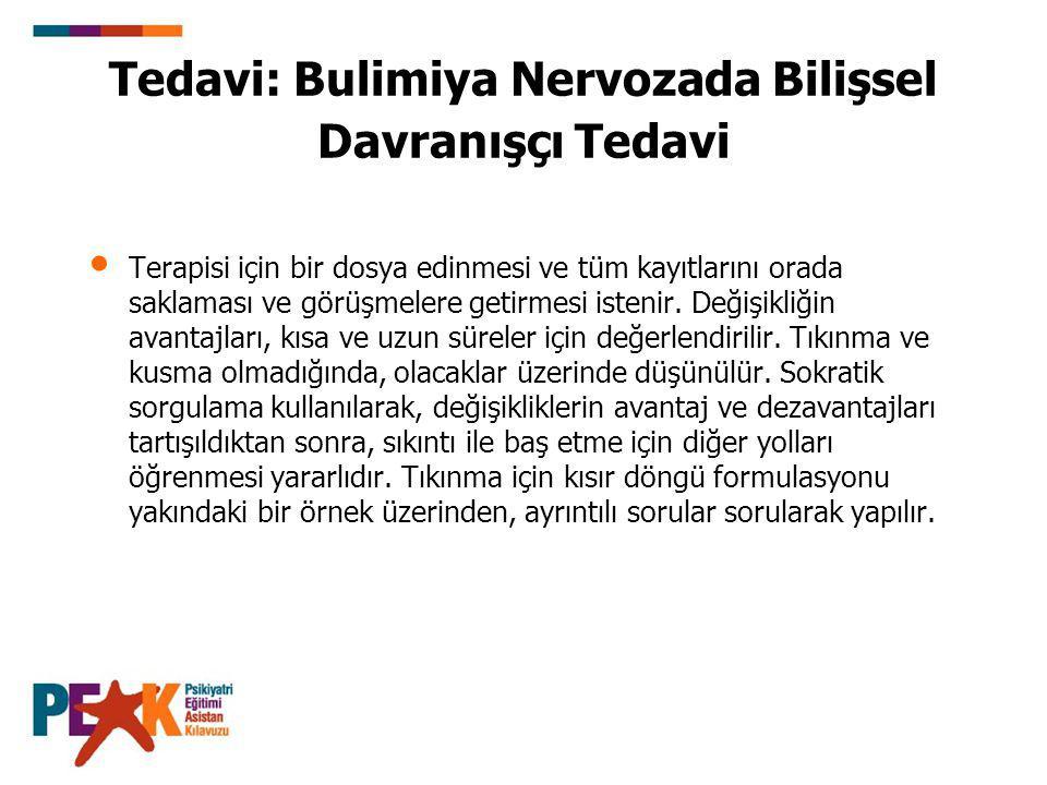 Tedavi: Bulimiya Nervozada Bilişsel Davranışçı Tedavi Terapisi için bir dosya edinmesi ve tüm kayıtlarını orada saklaması ve görüşmelere getirmesi ist