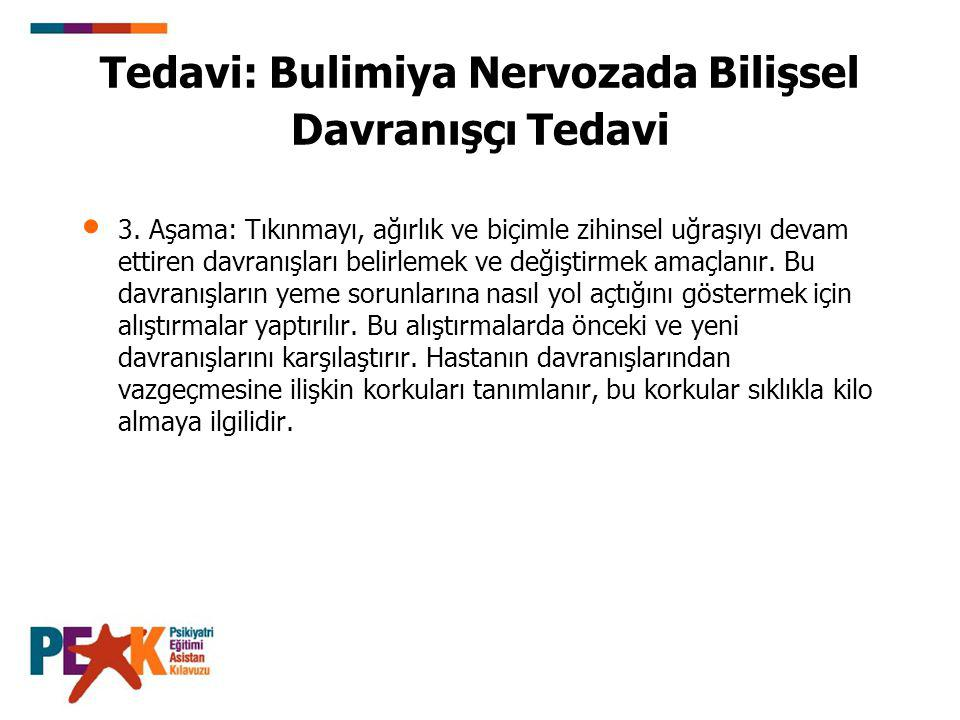 Tedavi: Bulimiya Nervozada Bilişsel Davranışçı Tedavi 3. Aşama: Tıkınmayı, ağırlık ve biçimle zihinsel uğraşıyı devam ettiren davranışları belirlemek