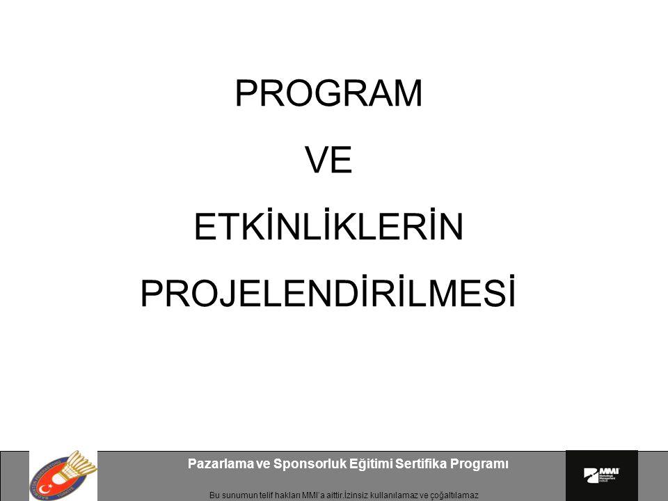 Bu sunumun telif hakları MMI'a aittir.İzinsiz kullanılamaz ve çoğaltılamaz Pazarlama ve Sponsorluk Eğitimi Sertifika Programı PROGRAM VE ETKİNLİKLERİN