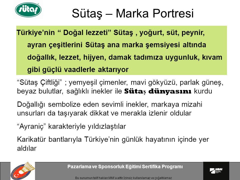 """Bu sunumun telif hakları MMI'a aittir.İzinsiz kullanılamaz ve çoğaltılamaz Pazarlama ve Sponsorluk Eğitimi Sertifika Programı Türkiye'nin """" Doğal lezz"""