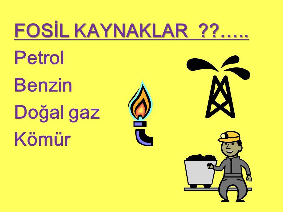 FOSİL KAYNAKLAR ??….. Petrol Benzin Doğal gaz Kömür