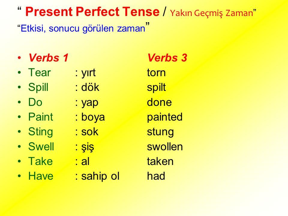 """"""" Present Perfect Tense / Yakın Geçmiş Zaman """" """"Etkisi, sonucu görülen zaman """" Verbs 1 Tear : yırt Spill : dök Do : yap Paint: boya Sting : sok Swell:"""
