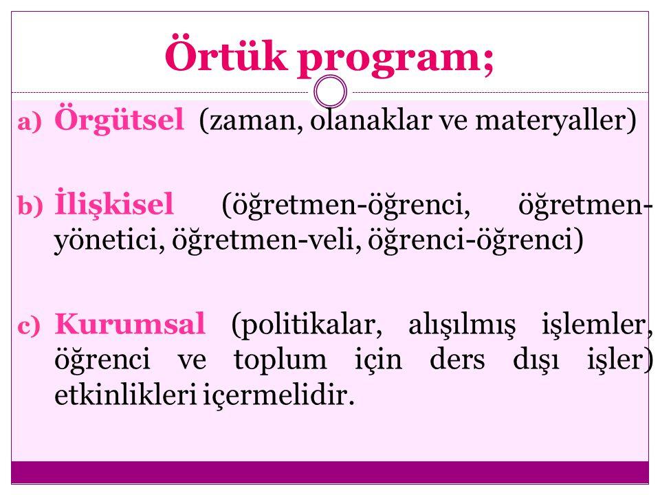 Örtük program; a) Örgütsel (zaman, olanaklar ve materyaller) b) İlişkisel (öğretmen-öğrenci, öğretmen- yönetici, öğretmen-veli, öğrenci-öğrenci) c) Ku