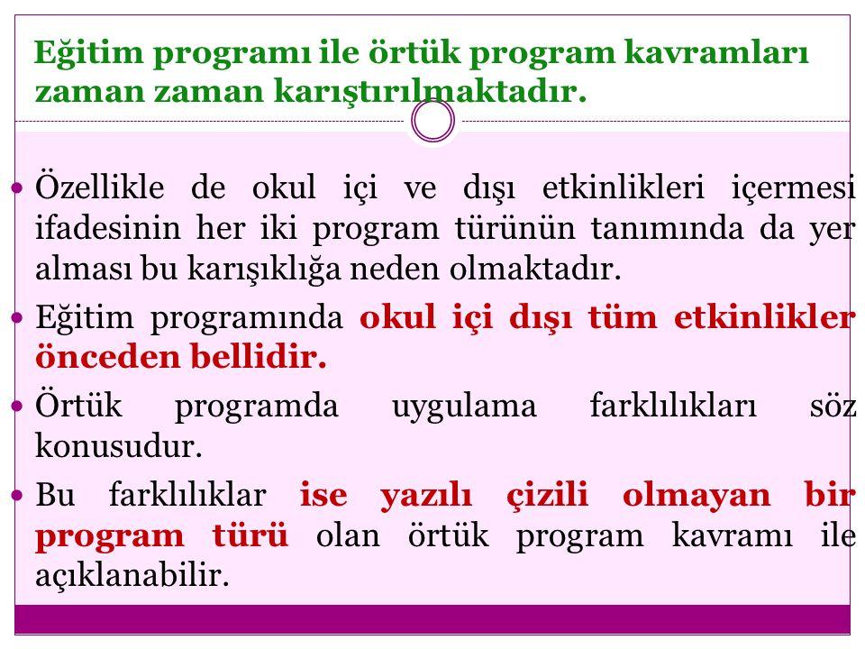 Eğitim programı ile örtük program kavramları zaman zaman karıştırılmaktadır. Özellikle de okul içi ve dışı etkinlikleri içermesi ifadesinin her iki pr