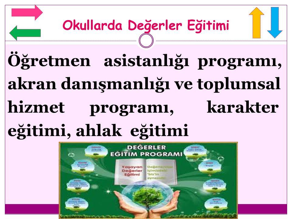 Öğretmen asistanlığı programı, akran danışmanlığı ve toplumsal hizmet programı, karakter eğitimi, ahlak eğitimi Okullarda Değerler Eğitimi