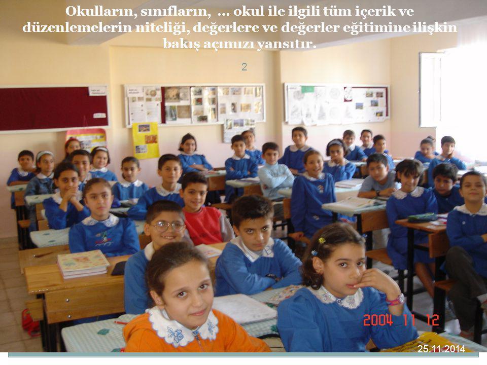 2 Okulların, sınıfların, … okul ile ilgili tüm içerik ve düzenlemelerin niteliği, değerlere ve değerler eğitimine ilişkin bakış açımızı yansıtır. 25.1