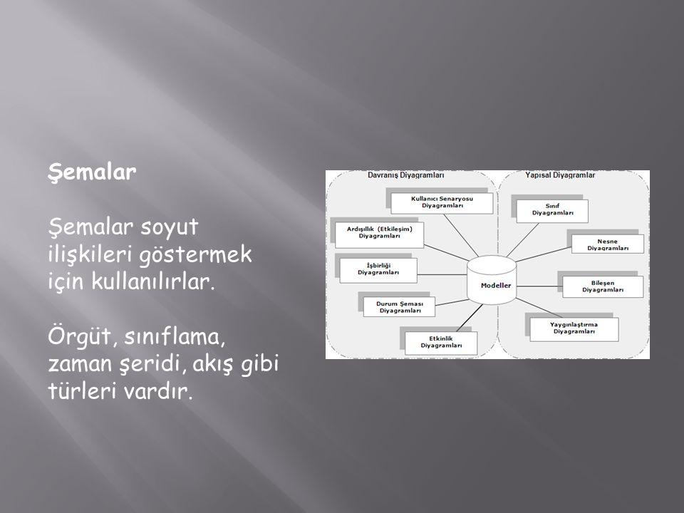 Şemalar Şemalar soyut ilişkileri göstermek için kullanılırlar. Örgüt, sınıflama, zaman şeridi, akış gibi türleri vardır.