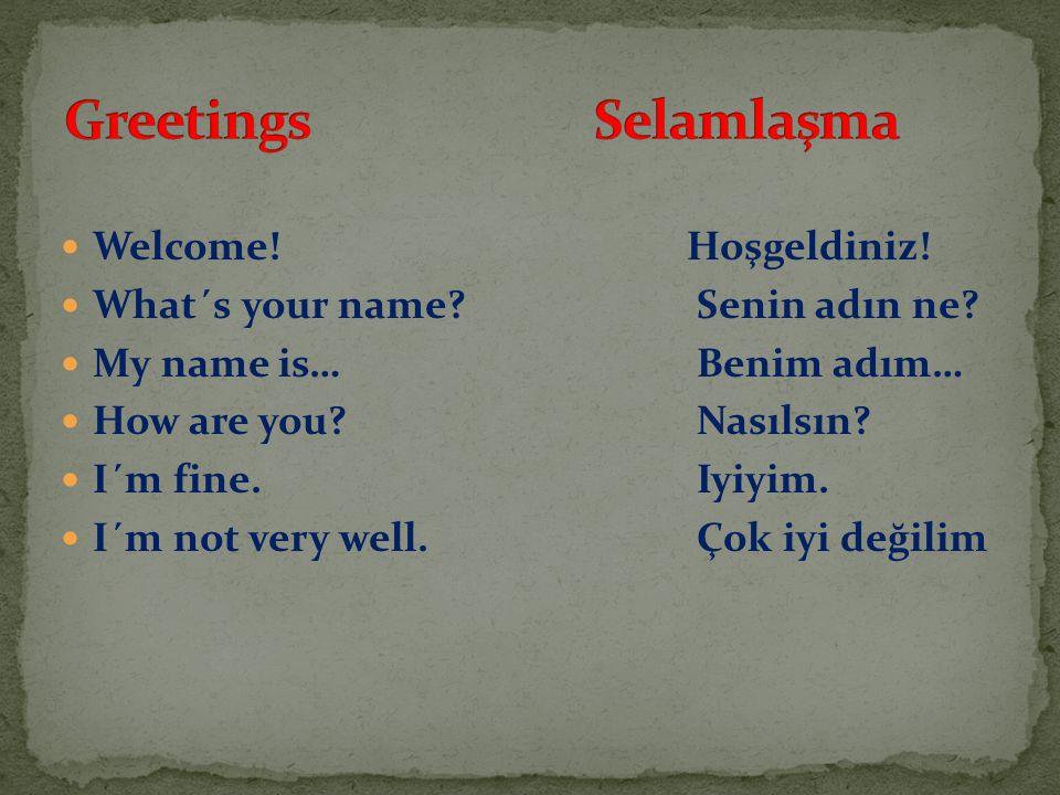 Welcome.Hoşgeldiniz. What´s your name?Senin adın ne.