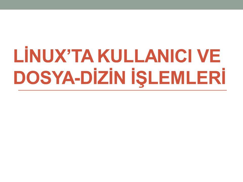 LİNUX'TA KULLANICI VE DOSYA-DİZİN İŞLEMLERİ