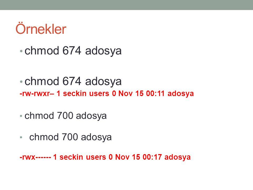 Örnekler chmod 674 adosya -rw-rwxr– 1 seckin users 0 Nov 15 00:11 adosya chmod 700 adosya -rwx------ 1 seckin users 0 Nov 15 00:17 adosya