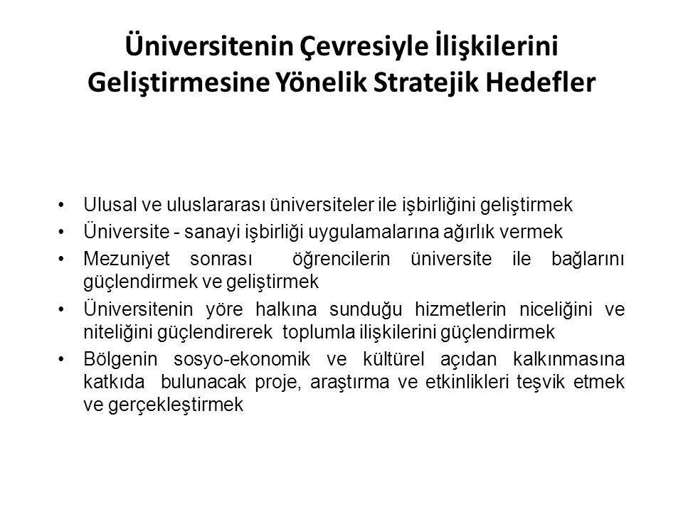 Üniversitenin Çevresiyle İlişkilerini Geliştirmesine Yönelik Stratejik Hedefler Ulusal ve uluslararası üniversiteler ile işbirliğini geliştirmek Ünive