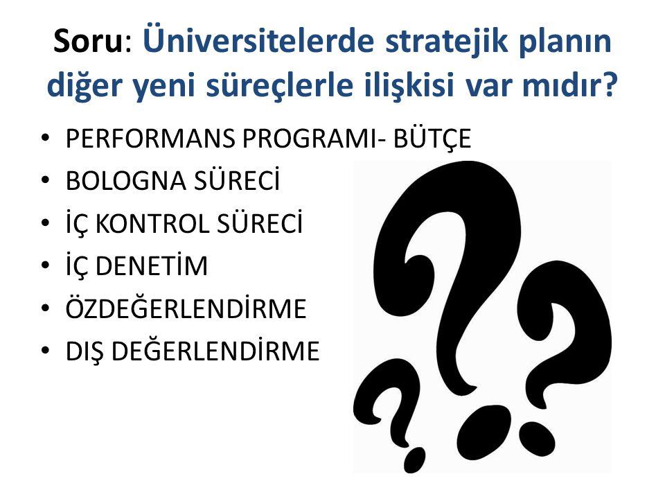 Soru: Üniversitelerde stratejik planın diğer yeni süreçlerle ilişkisi var mıdır? PERFORMANS PROGRAMI- BÜTÇE BOLOGNA SÜRECİ İÇ KONTROL SÜRECİ İÇ DENETİ