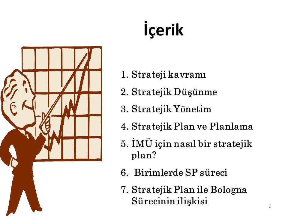 2 İçerik 1.Strateji kavramı 2.Stratejik Düşünme 3.Stratejik Yönetim 4.Stratejik Plan ve Planlama 5.İMÜ için nasıl bir stratejik plan? 6. Birimlerde SP