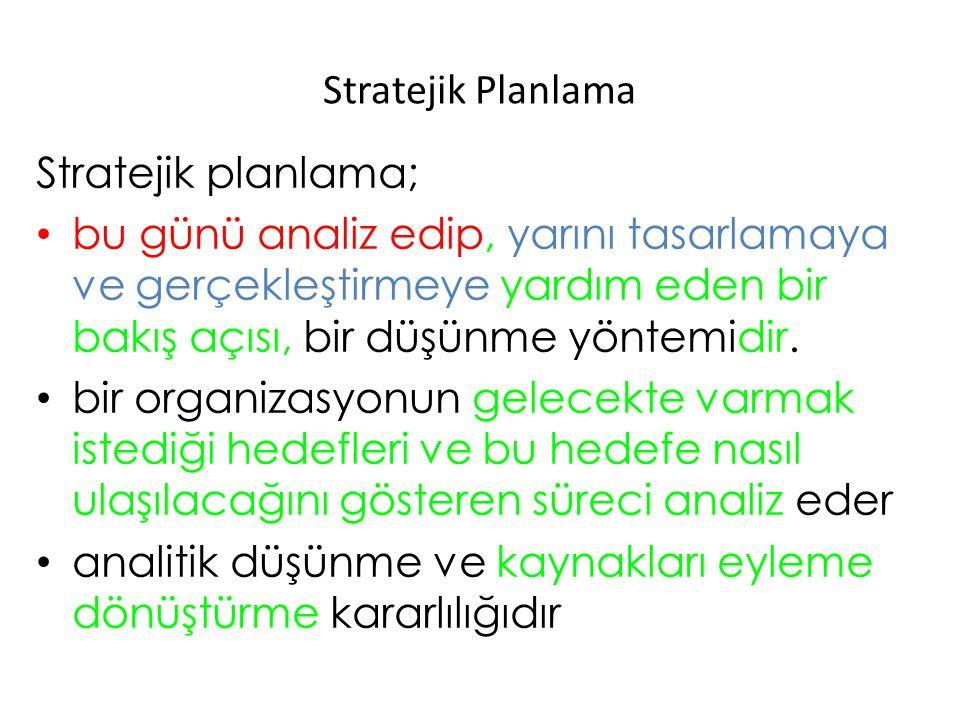 Stratejik Planlama Stratejik planlama; bu günü analiz edip, yarını tasarlamaya ve gerçekleştirmeye yardım eden bir bakış açısı, bir düşünme yöntemidir
