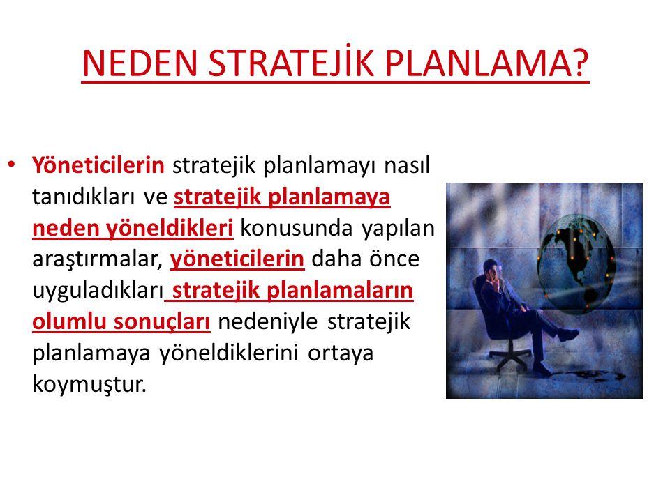 NEDEN STRATEJİK PLANLAMA? Yöneticilerin stratejik planlamayı nasıl tanıdıkları ve stratejik planlamaya neden yöneldikleri konusunda yapılan araştırmal