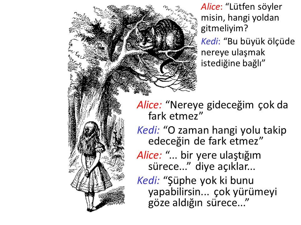 """Alice: """"Lütfen söyler misin, hangi yoldan gitmeliyim? Kedi: """"Bu büyük ölçüde nereye ulaşmak istediğine bağlı"""" Alice: """"Nereye gideceğim çok da fark etm"""