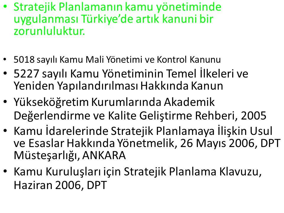Stratejik Planlamanın kamu yönetiminde uygulanması Türkiye'de artık kanuni bir zorunluluktur. 5018 sayılı Kamu Mali Yönetimi ve Kontrol Kanunu 5227 sa