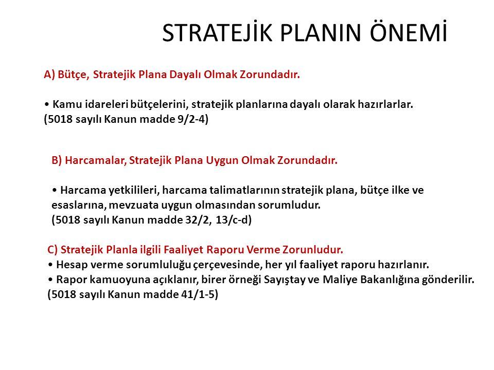 STRATEJİK PLANIN ÖNEMİ A) Bütçe, Stratejik Plana Dayalı Olmak Zorundadır. Kamu idareleri bütçelerini, stratejik planlarına dayalı olarak hazırlarlar.