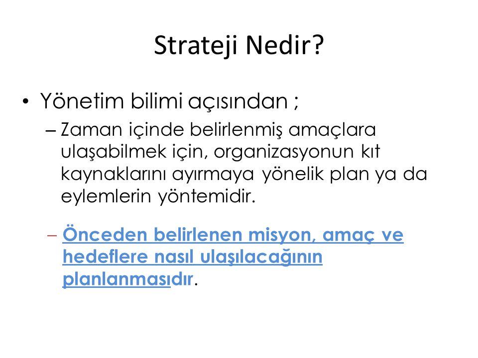 Strateji Nedir? Yönetim bilimi açısından ; – Zaman içinde belirlenmiş amaçlara ulaşabilmek için, organizasyonun kıt kaynaklarını ayırmaya yönelik plan