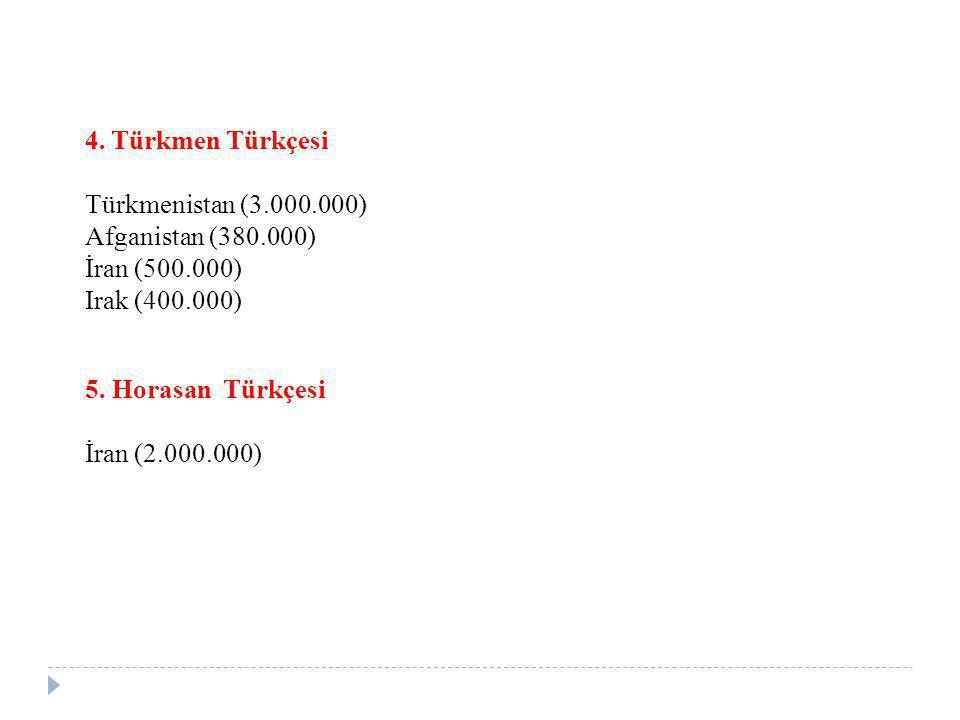 4. Türkmen Türkçesi Türkmenistan (3.000.000) Afganistan (380.000) İran (500.000) Irak (400.000) 5. Horasan Türkçesi İran (2.000.000)