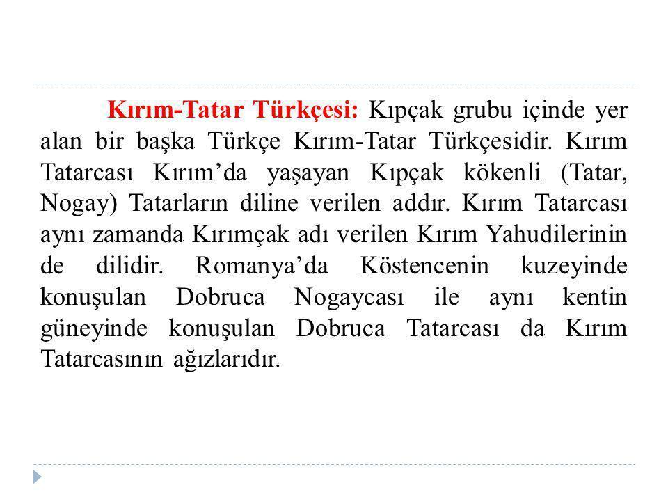 Kırım-Tatar Türkçesi: Kıpçak grubu içinde yer alan bir başka Türkçe Kırım-Tatar Türkçesidir. Kırım Tatarcası Kırım'da yaşayan Kıpçak kökenli (Tatar, N