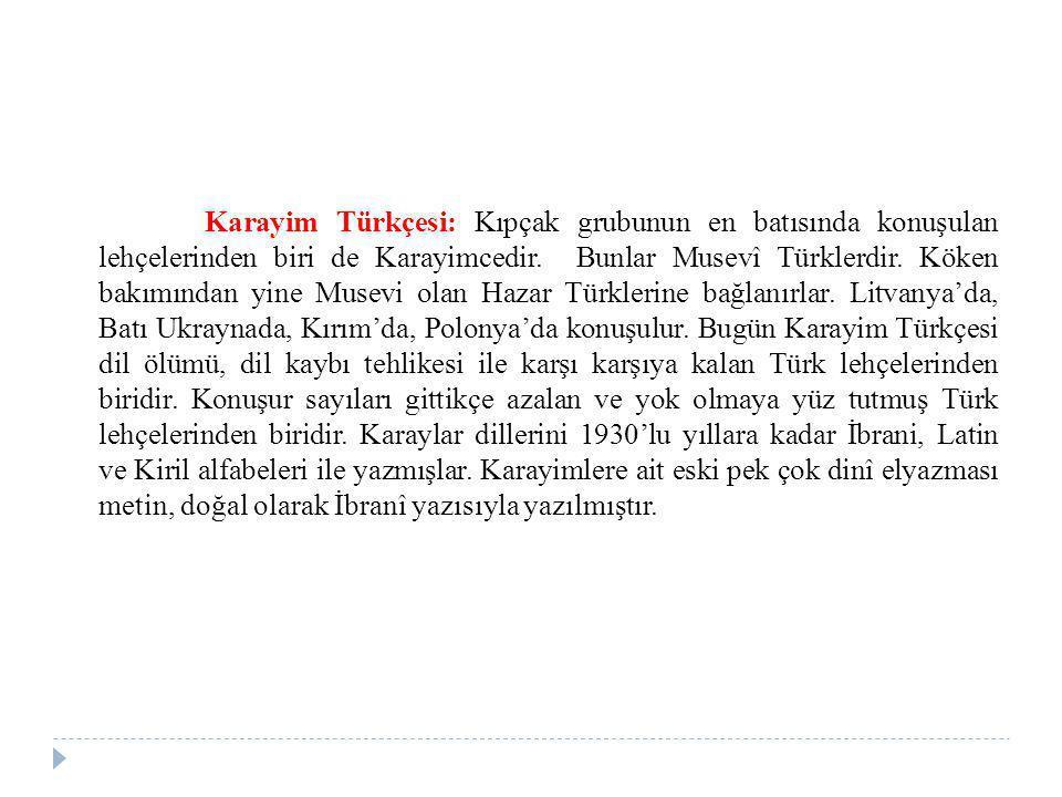 Karayim Türkçesi: Kıpçak grubunun en batısında konuşulan lehçelerinden biri de Karayimcedir. Bunlar Musevî Türklerdir. Köken bakımından yine Musevi ol