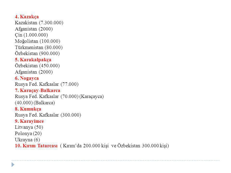 4. Kazakça Kazakistan (7.300.000) Afganistan (2000) Çin (1.000.000) Moğolistan (100.000) Türkmenistan (80.000) Özbekistan (900.000) 5. Karakalpakça Öz