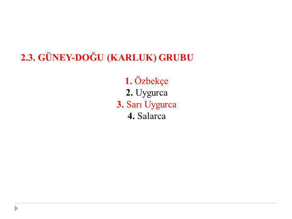 2.3. GÜNEY-DOĞU (KARLUK) GRUBU 1. Özbekçe 2. Uygurca 3. Sarı Uygurca 4. Salarca