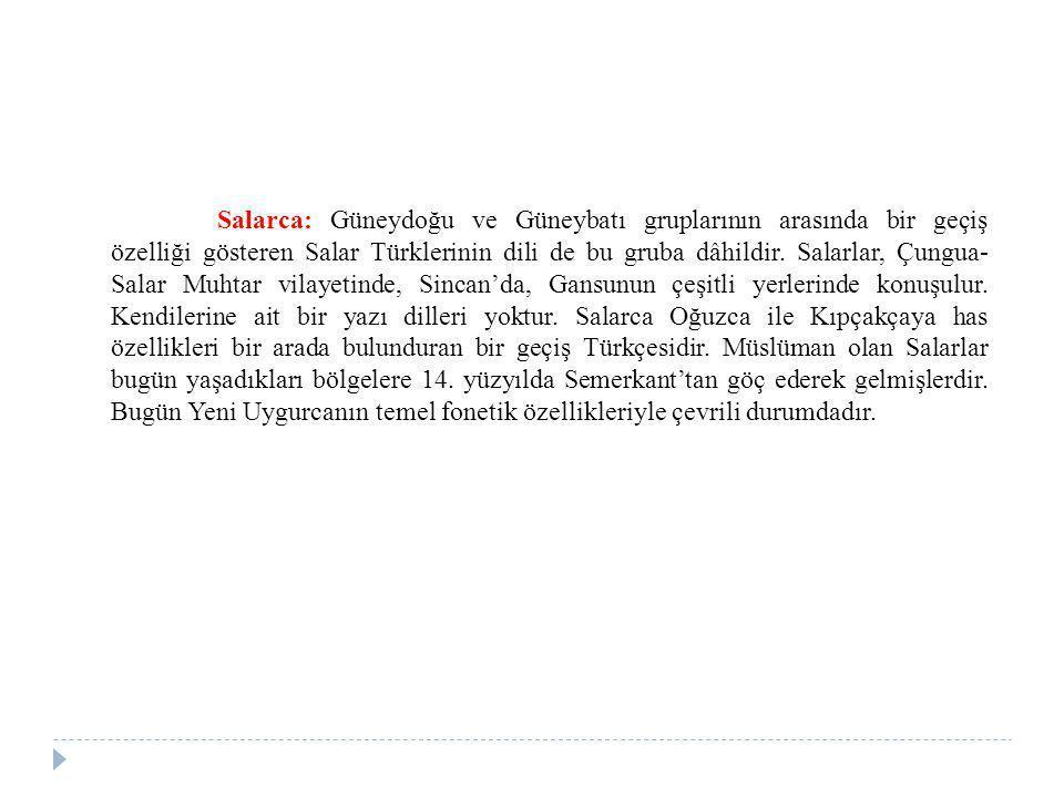 Salarca: Güneydoğu ve Güneybatı gruplarının arasında bir geçiş özelliği gösteren Salar Türklerinin dili de bu gruba dâhildir. Salarlar, Çungua- Salar