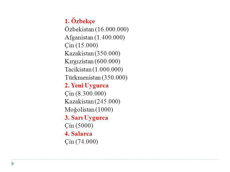 1. Özbekçe Özbekistan (16.000.000) Afganistan (1.400.000) Çin (15.000) Kazakistan (350.000) Kırgızistan (600.000) Tacikistan (1.000.000) Türkmenistan