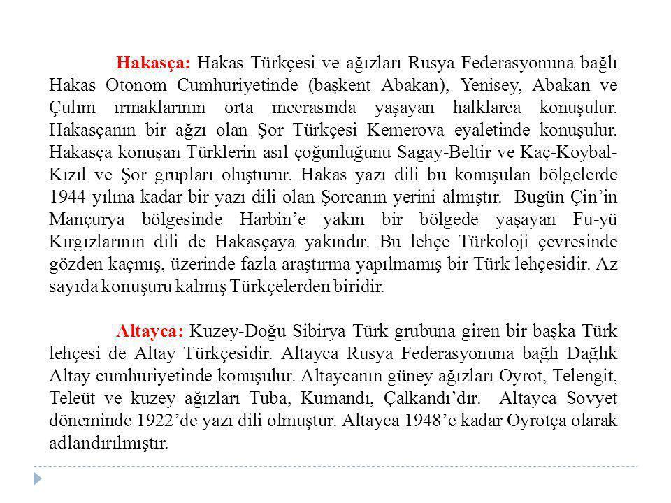 Hakasça: Hakas Türkçesi ve ağızları Rusya Federasyonuna bağlı Hakas Otonom Cumhuriyetinde (başkent Abakan), Yenisey, Abakan ve Çulım ırmaklarının orta