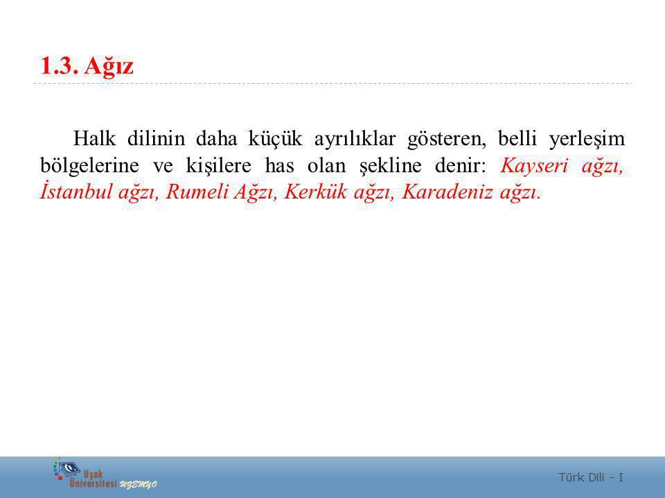 1.3. Ağız Halk dilinin daha küçük ayrılıklar gösteren, belli yerleşim bölgelerine ve kişilere has olan şekline denir: Kayseri ağzı, İstanbul ağzı, Rum