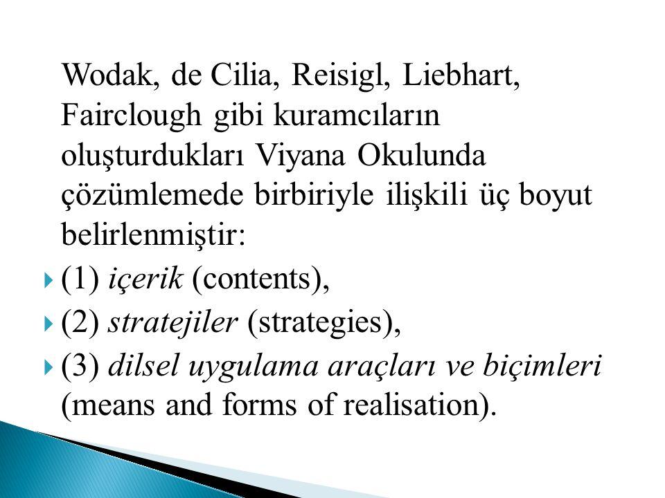 Wodak, de Cilia, Reisigl, Liebhart, Fairclough gibi kuramcıların oluşturdukları Viyana Okulunda çözümlemede birbiriyle ilişkili üç boyut belirlenmişti