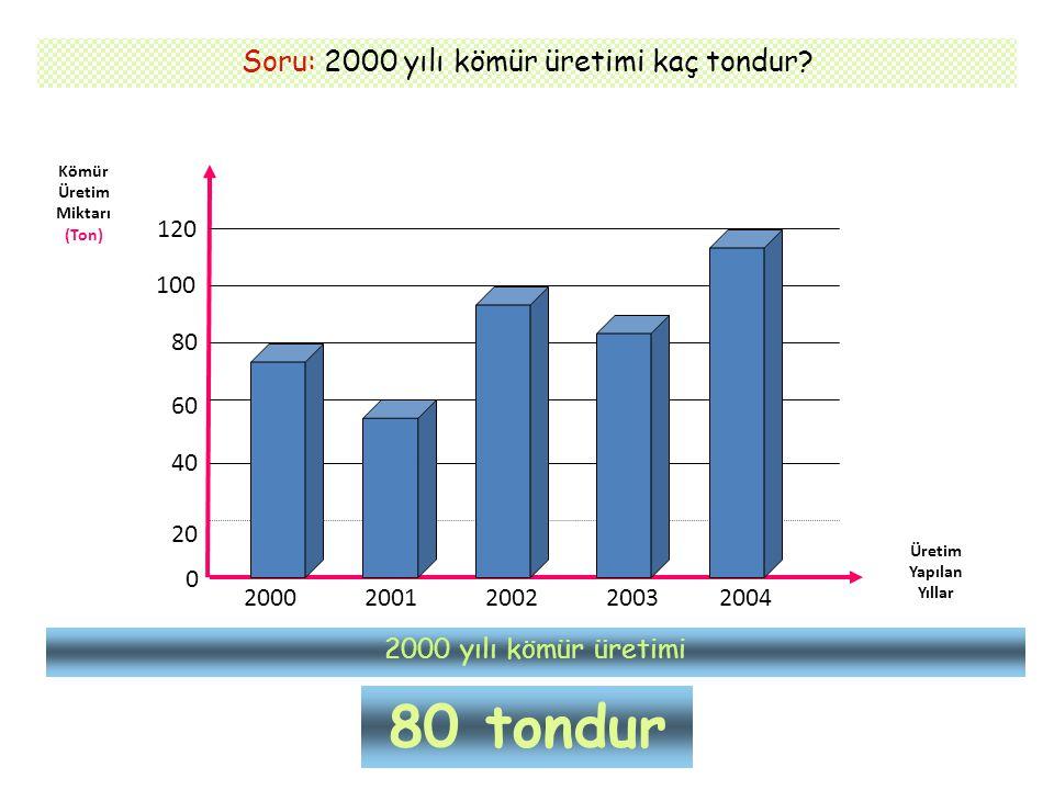 Soru: 2000 yılı kömür üretimi kaç tondur? Kömür Üretim Miktarı (Ton) Üretim Yapılan Yıllar 0 20 40 60 80 100 120 2000 2001200220032004 2000 yılı kömür