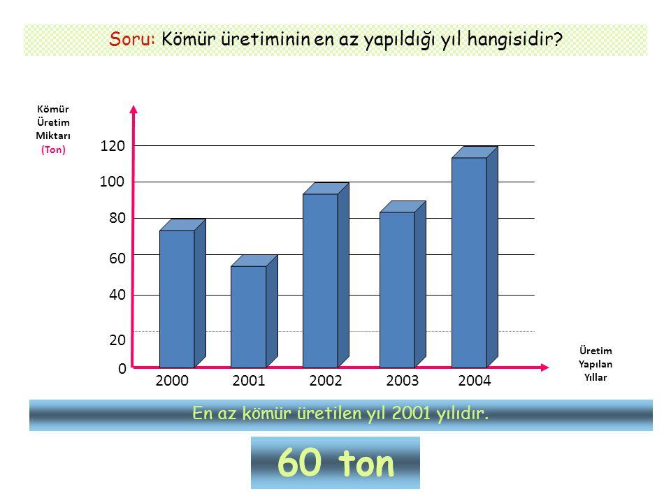 Soru: Kömür üretiminin en az yapıldığı yıl hangisidir? Kömür Üretim Miktarı (Ton) Üretim Yapılan Yıllar 0 20 40 60 80 100 120 2000 2001200220032004 En