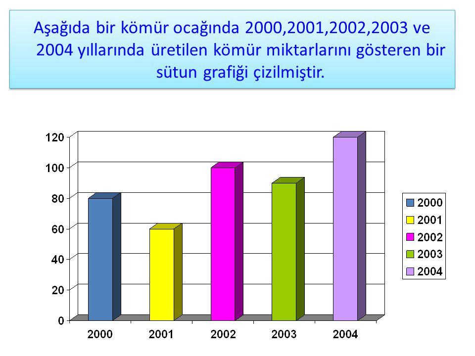 Öncelikle bir sütun grafiğinde verilen bilgileri nasıl okuyacağımızı öğrenelim. Aşağıda bir kömür ocağında 2000,2001,2002,2003 ve 2004 yıllarında üret
