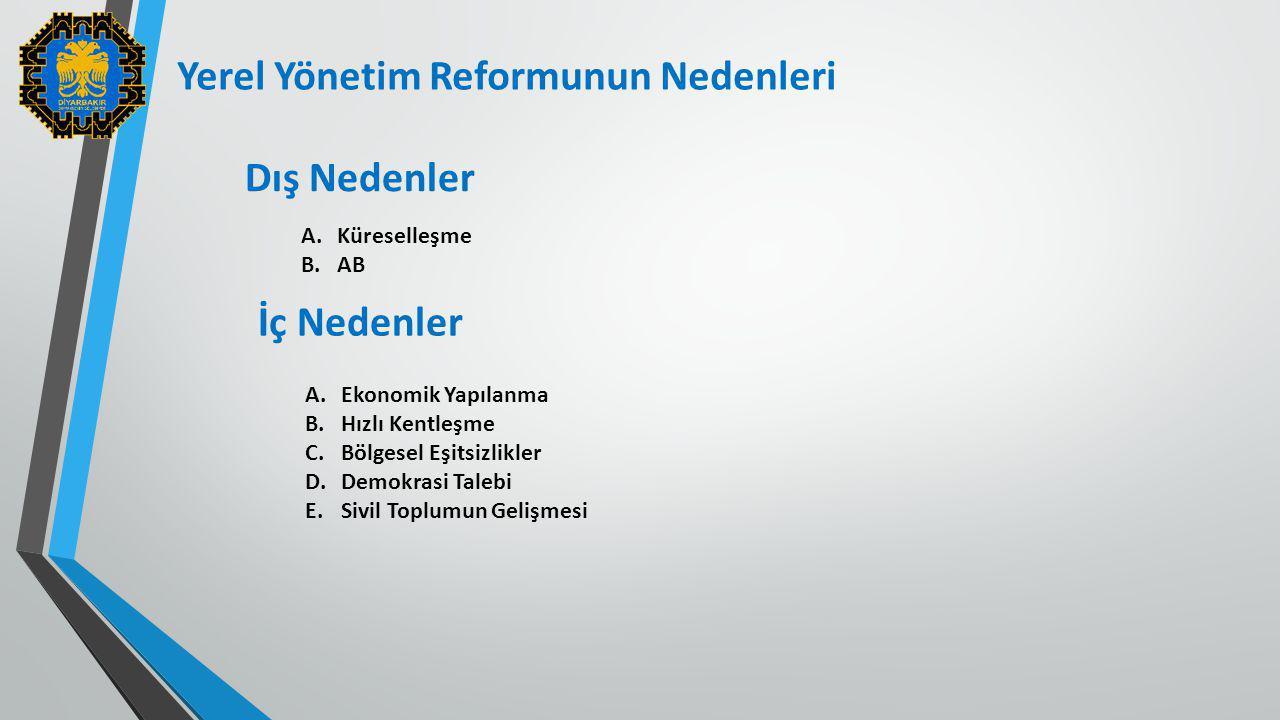 Yerel Yönetim Reformunun Nedenleri Dış Nedenler A.Küreselleşme B.AB İç Nedenler A.Ekonomik Yapılanma B.Hızlı Kentleşme C.Bölgesel Eşitsizlikler D.Demo