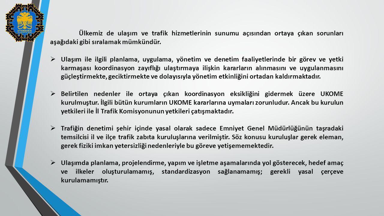 Ülkemiz de ulaşım ve trafik hizmetlerinin sunumu açısından ortaya çıkan sorunları aşağıdaki gibi sıralamak mümkündür.  Ulaşım ile ilgili planlama, uy